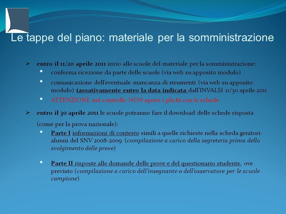Le tappe del piano: materiale per la somministrazione entro il 11/20 aprile 2011 invio alle scuole del materiale per la somministrazione: conferma ric