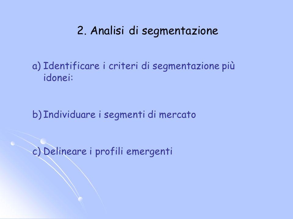2. Analisi di segmentazione a) a)Identificare i criteri di segmentazione più idonei: b) b)Individuare i segmenti di mercato c) c)Delineare i profili e