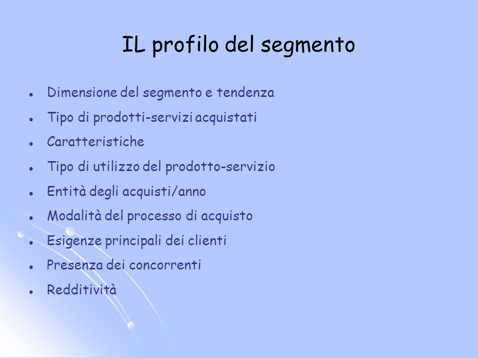 Dimensione del segmento e tendenza Tipo di prodotti-servizi acquistati Caratteristiche Tipo di utilizzo del prodotto-servizio Entità degli acquisti/an