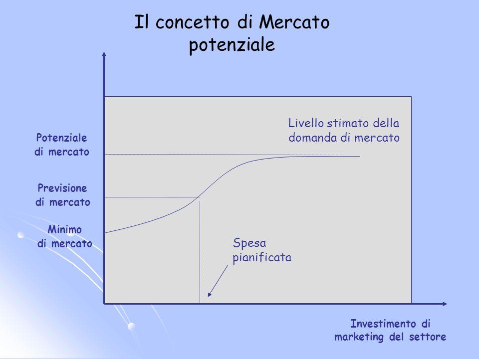 Investimento di marketing del settore Potenziale di mercato Previsione di mercato Minimo di mercato Livello stimato della domanda di mercato Spesa pia