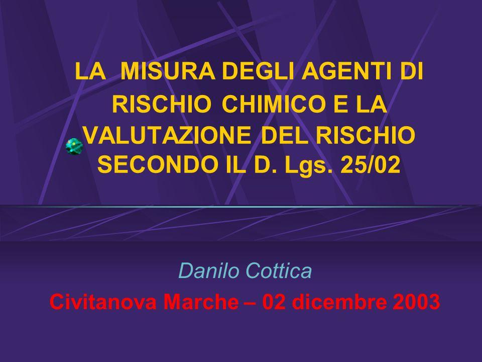 LA MISURA DEGLI AGENTI DI RISCHIO CHIMICO E LA VALUTAZIONE DEL RISCHIO SECONDO IL D.