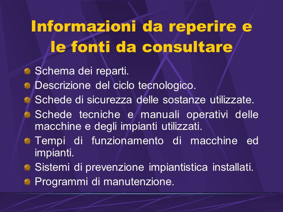 Informazioni da reperire e le fonti da consultare Schema dei reparti.