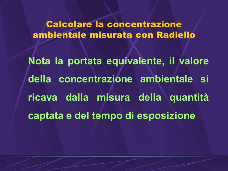 Calcolare la concentrazione ambientale misurata con Radiello Nota la portata equivalente, il valore della concentrazione ambientale si ricava dalla misura della quantità captata e del tempo di esposizione