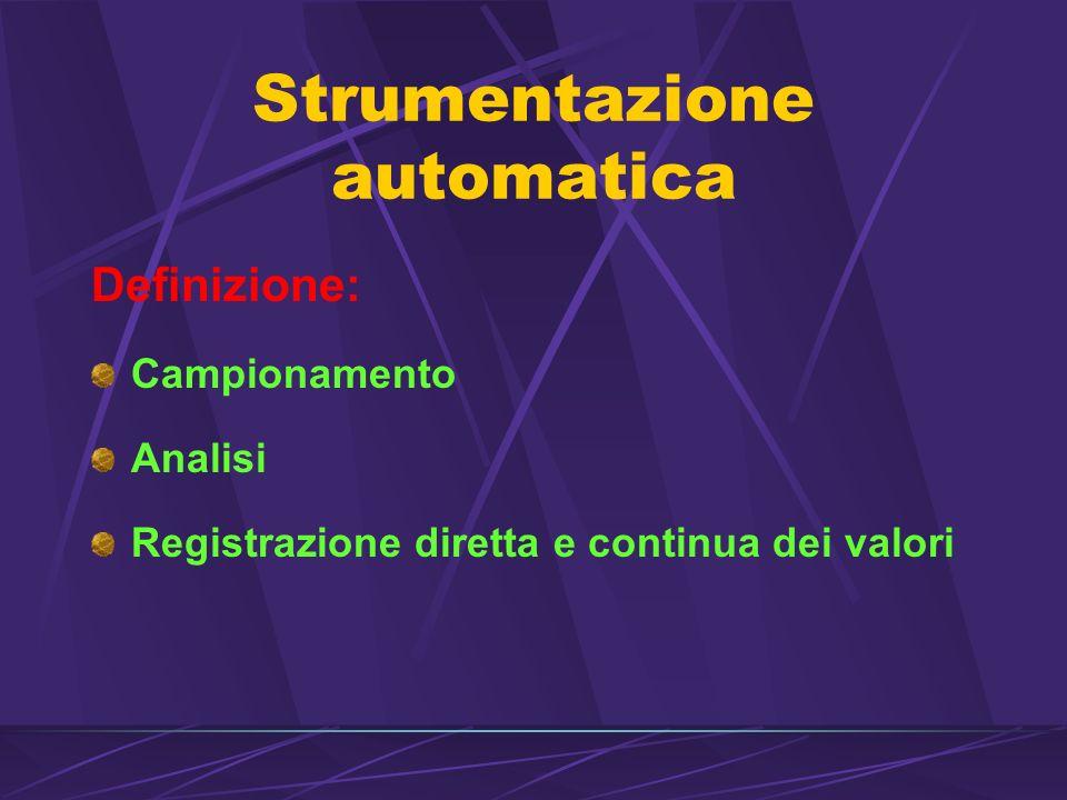 Strumentazione automatica Definizione: Campionamento Analisi Registrazione diretta e continua dei valori