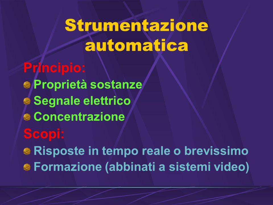 Strumentazione automatica Principio: Proprietà sostanze Segnale elettrico Concentrazione Scopi: Risposte in tempo reale o brevissimo Formazione (abbinati a sistemi video)