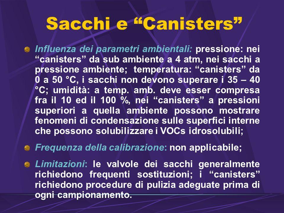 Sacchi e Canisters Influenza dei parametri ambientali: pressione: nei canisters da sub ambiente a 4 atm, nei sacchi a pressione ambiente; temperatura: canisters da 0 a 50 °C, i sacchi non devono superare i 35 – 40 °C; umidità: a temp.