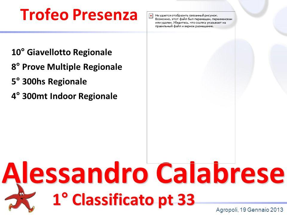 Agropoli, 19 Gennaio 2013 Trofeo Presenza 1° Classificato pt 33 10° Giavellotto Regionale 8° Prove Multiple Regionale 5° 300hs Regionale 4° 300mt Indoor Regionale Alessandro Calabrese