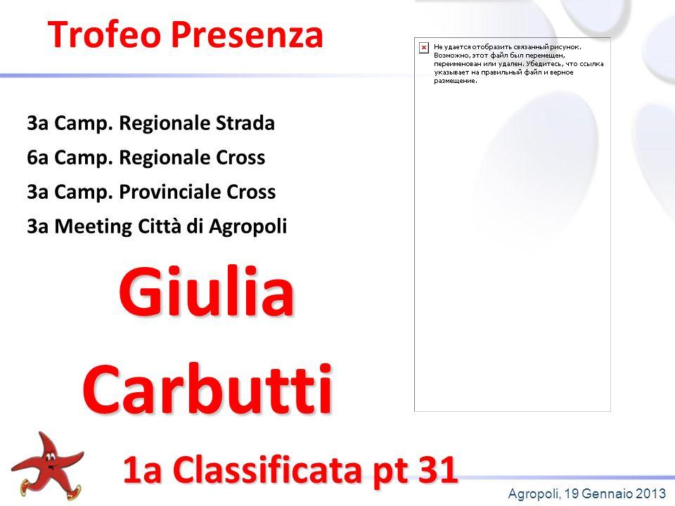 Agropoli, 19 Gennaio 2013 Trofeo Presenza 1a Classificata pt 31 3a Camp.