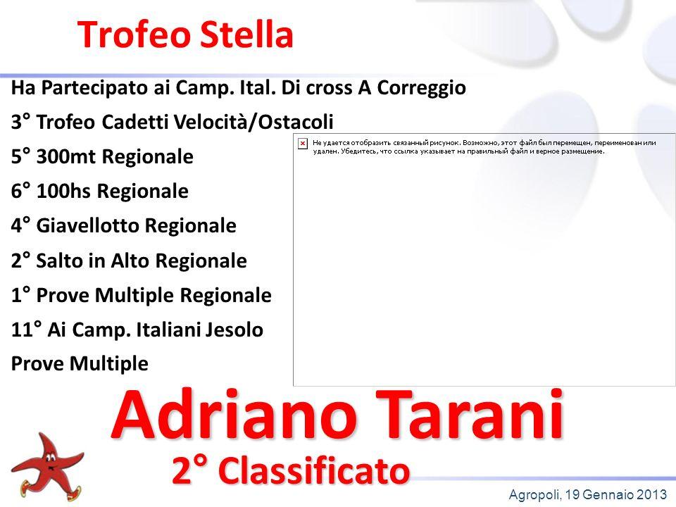 Agropoli, 19 Gennaio 2013 Trofeo Stella 2° Classificato Ha Partecipato ai Camp.