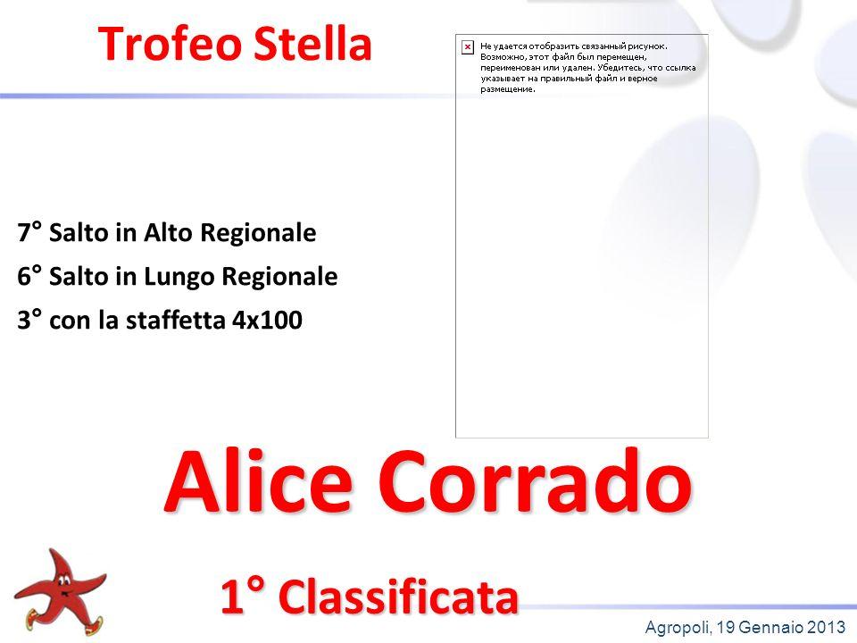 Agropoli, 19 Gennaio 2013 Trofeo Stella 1° Classificata 7° Salto in Alto Regionale 6° Salto in Lungo Regionale 3° con la staffetta 4x100 Alice Corrado
