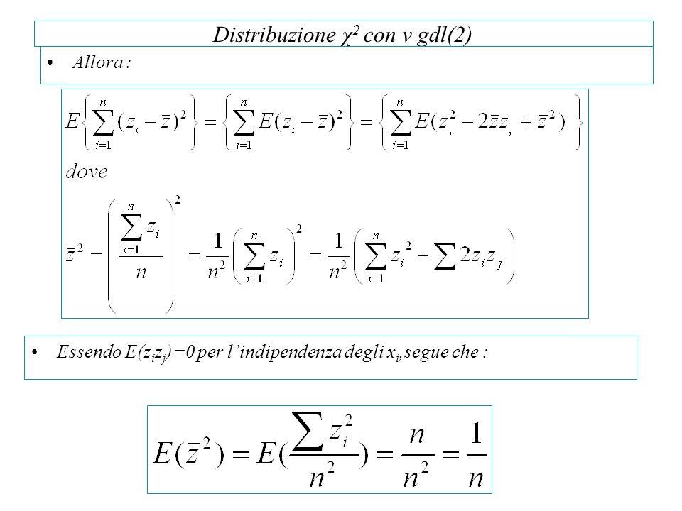 Distribuzione χ 2 con v gdl(2) Allora : Essendo E(z i z j )=0 per lindipendenza degli x i,segue che :