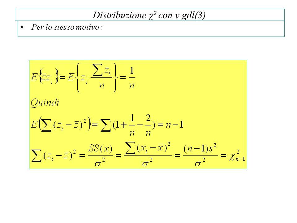 Distribuzione χ 2 con v gdl(3) Per lo stesso motivo :