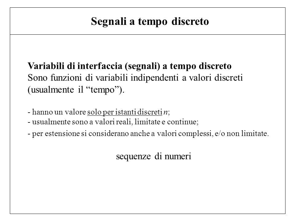 Variabili di interfaccia (segnali) a tempo discreto Sono funzioni di variabili indipendenti a valori discreti (usualmente il tempo). - hanno un valore