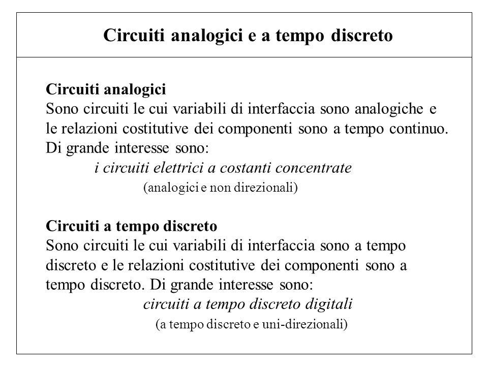 Circuiti analogici Sono circuiti le cui variabili di interfaccia sono analogiche e le relazioni costitutive dei componenti sono a tempo continuo. Di g