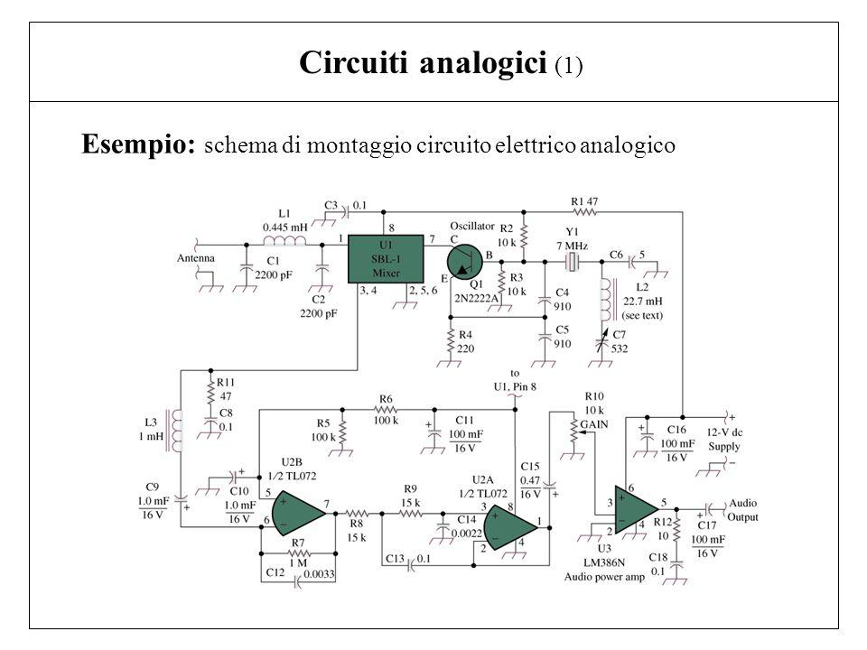 Circuiti analogici (1) Esempio: schema di montaggio circuito elettrico analogico