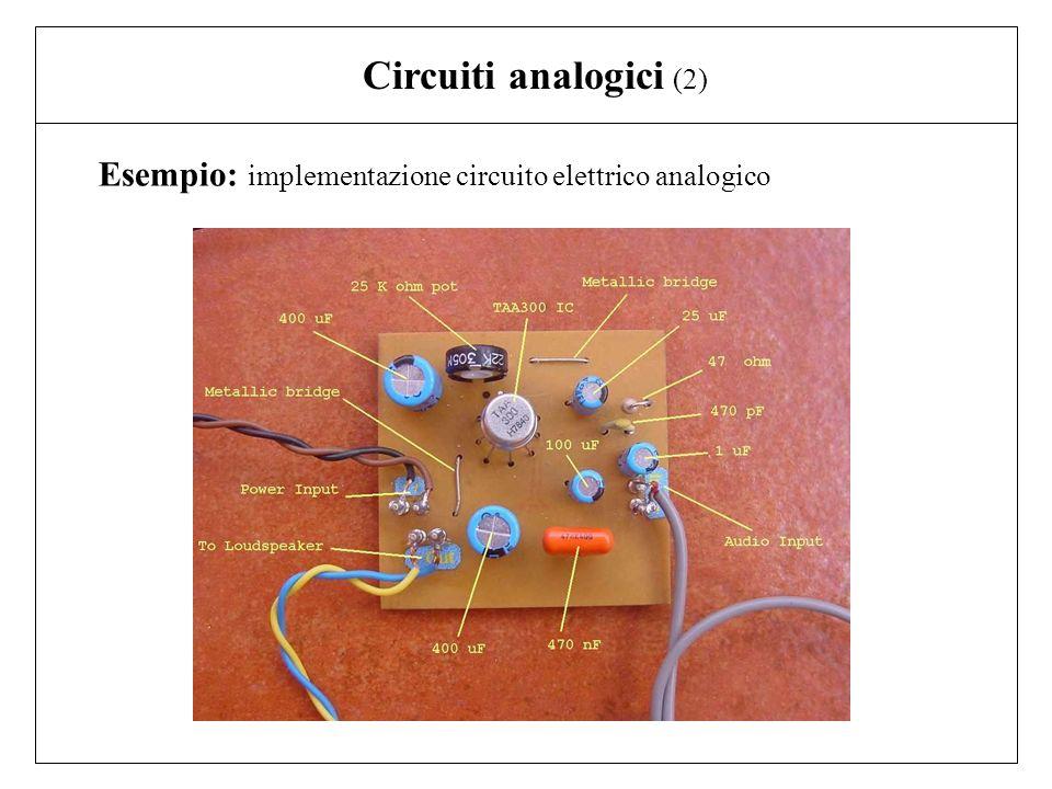 Circuiti analogici (2) Esempio: implementazione circuito elettrico analogico