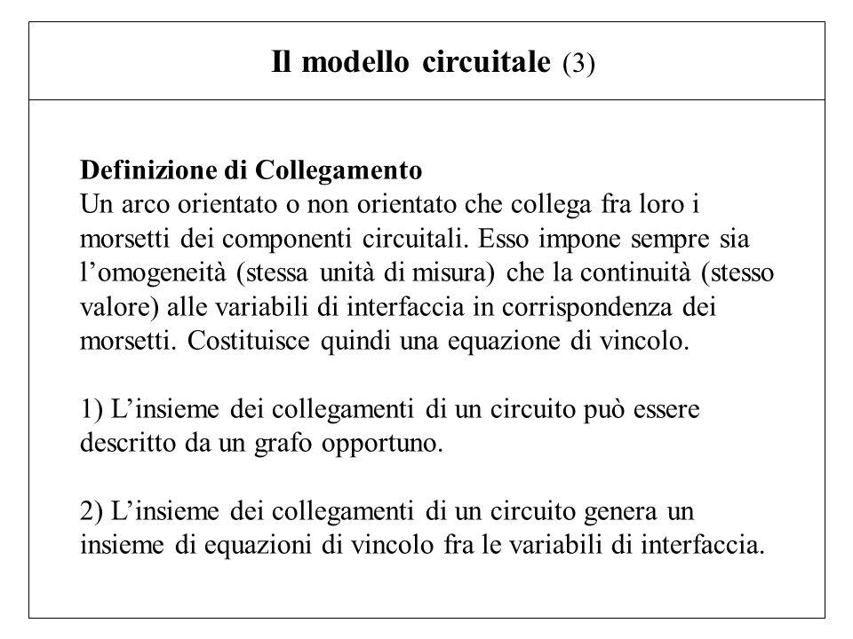 Definizione di Collegamento Un arco orientato o non orientato che collega fra loro i morsetti dei componenti circuitali. Esso impone sempre sia lomoge