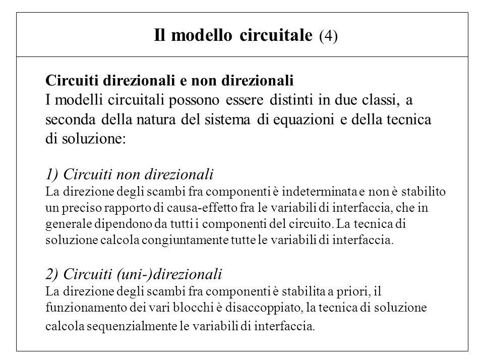 Circuiti direzionali e non direzionali I modelli circuitali possono essere distinti in due classi, a seconda della natura del sistema di equazioni e d