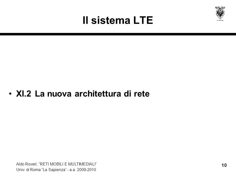 Aldo Roveri, RETI MOBILI E MULTIMEDIALI Univ. di Roma La Sapienza - a.a. 2009-2010 10 Il sistema LTE XI.2 La nuova architettura di rete