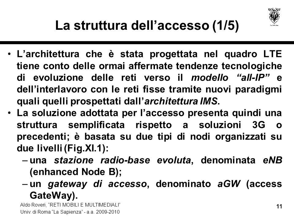 Aldo Roveri, RETI MOBILI E MULTIMEDIALI Univ. di Roma La Sapienza - a.a. 2009-2010 11 La struttura dellaccesso (1/5) Larchitettura che è stata progett