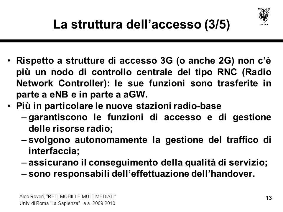 Aldo Roveri, RETI MOBILI E MULTIMEDIALI Univ. di Roma La Sapienza - a.a. 2009-2010 13 La struttura dellaccesso (3/5) Rispetto a strutture di accesso 3