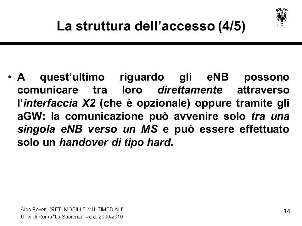 Aldo Roveri, RETI MOBILI E MULTIMEDIALI Univ. di Roma La Sapienza - a.a. 2009-2010 14 La struttura dellaccesso (4/5) A questultimo riguardo gli eNB po