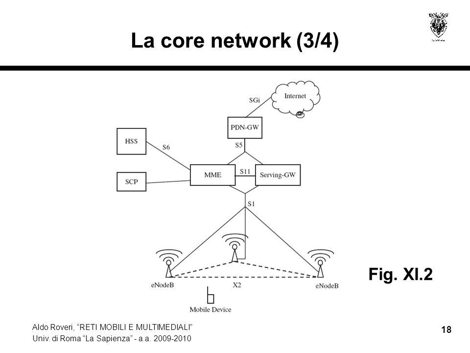 Aldo Roveri, RETI MOBILI E MULTIMEDIALI Univ. di Roma La Sapienza - a.a. 2009-2010 18 La core network (3/4) Fig. XI.2