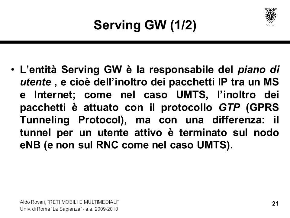 Aldo Roveri, RETI MOBILI E MULTIMEDIALI Univ. di Roma La Sapienza - a.a. 2009-2010 21 Serving GW (1/2) Lentità Serving GW è la responsabile del piano