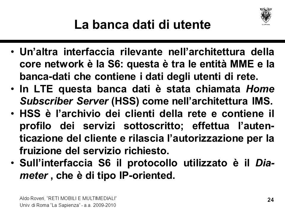 Aldo Roveri, RETI MOBILI E MULTIMEDIALI Univ. di Roma La Sapienza - a.a. 2009-2010 24 La banca dati di utente Unaltra interfaccia rilevante nellarchit