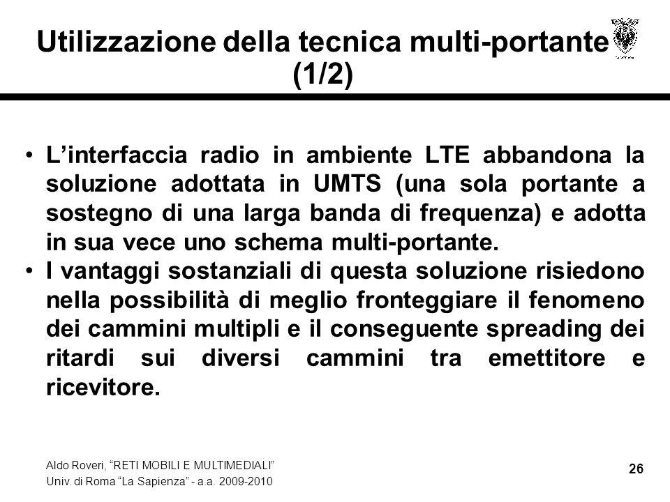 Aldo Roveri, RETI MOBILI E MULTIMEDIALI Univ. di Roma La Sapienza - a.a. 2009-2010 26 Utilizzazione della tecnica multi-portante (1/2) Linterfaccia ra