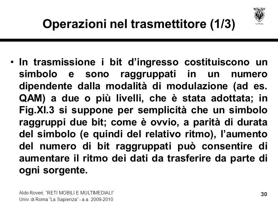Aldo Roveri, RETI MOBILI E MULTIMEDIALI Univ. di Roma La Sapienza - a.a. 2009-2010 30 Operazioni nel trasmettitore (1/3) In trasmissione i bit dingres
