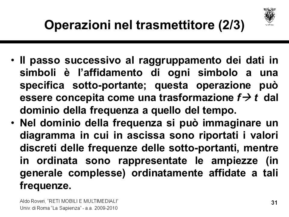 Aldo Roveri, RETI MOBILI E MULTIMEDIALI Univ. di Roma La Sapienza - a.a. 2009-2010 31 Operazioni nel trasmettitore (2/3) Il passo successivo al raggru