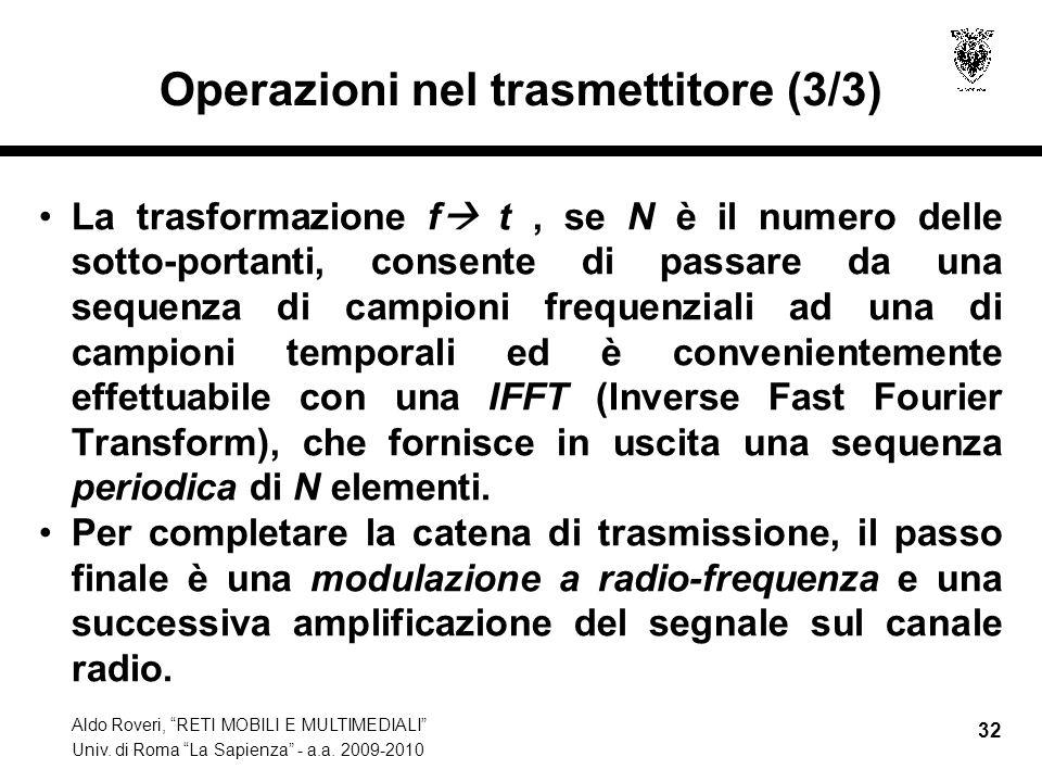 Aldo Roveri, RETI MOBILI E MULTIMEDIALI Univ. di Roma La Sapienza - a.a. 2009-2010 32 Operazioni nel trasmettitore (3/3) La trasformazione f t, se N è