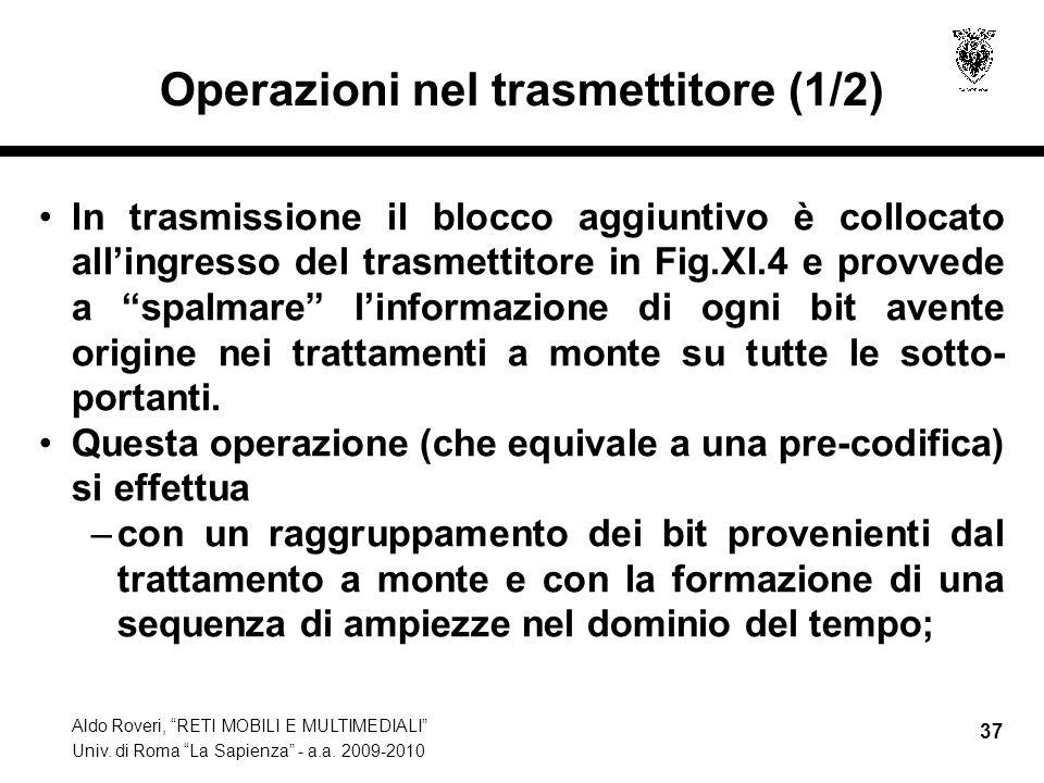 Aldo Roveri, RETI MOBILI E MULTIMEDIALI Univ. di Roma La Sapienza - a.a. 2009-2010 37 Operazioni nel trasmettitore (1/2) In trasmissione il blocco agg