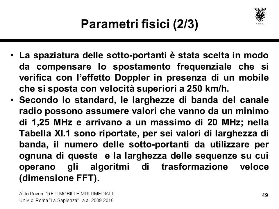Aldo Roveri, RETI MOBILI E MULTIMEDIALI Univ. di Roma La Sapienza - a.a. 2009-2010 49 Parametri fisici (2/3) La spaziatura delle sotto-portanti è stat