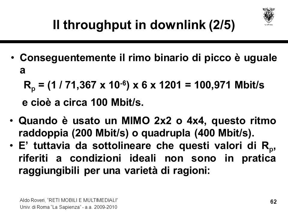 Aldo Roveri, RETI MOBILI E MULTIMEDIALI Univ. di Roma La Sapienza - a.a. 2009-2010 62 Il throughput in downlink (2/5) Conseguentemente il rimo binario
