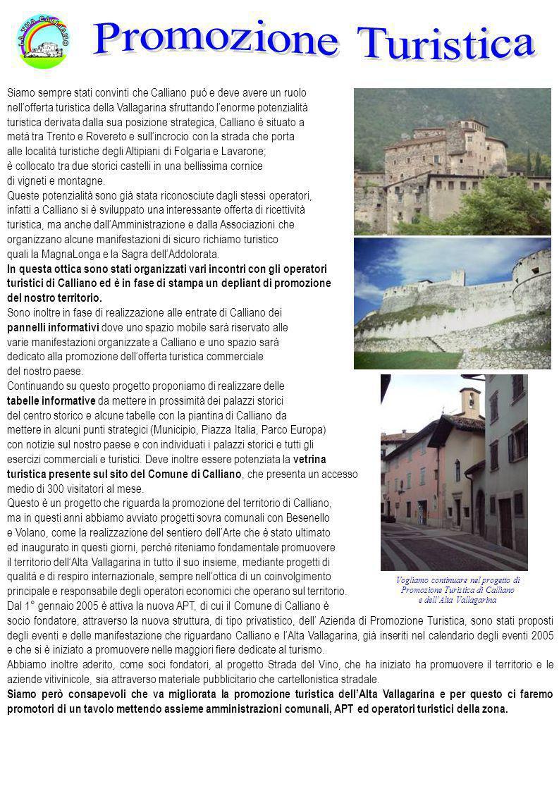 Siamo sempre stati convinti che Calliano può e deve avere un ruolo nellofferta turistica della Vallagarina sfruttando lenorme potenzialità turistica d
