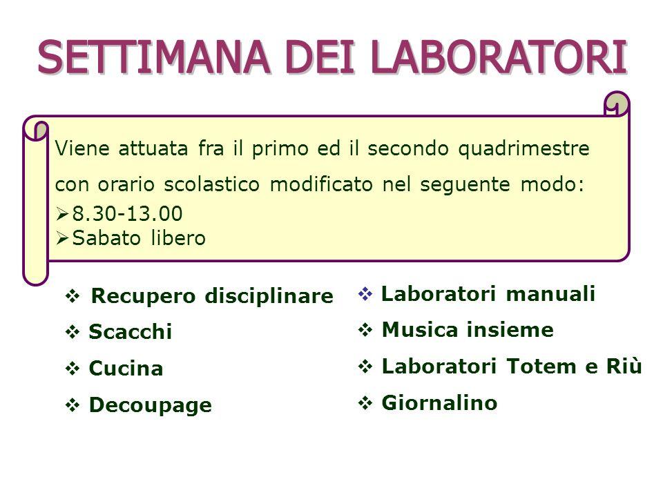 Viene attuata fra il primo ed il secondo quadrimestre con orario scolastico modificato nel seguente modo: 8.30-13.00 Sabato libero Laboratori manuali