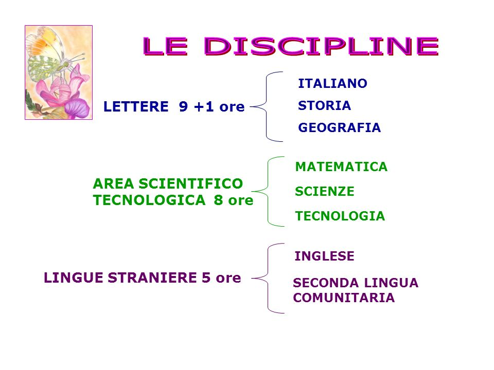 LETTERE 9 +1 ore ITALIANO STORIA GEOGRAFIA AREA SCIENTIFICO TECNOLOGICA 8 ore LINGUE STRANIERE 5 ore SCIENZE MATEMATICA TECNOLOGIA INGLESE SECONDA LIN
