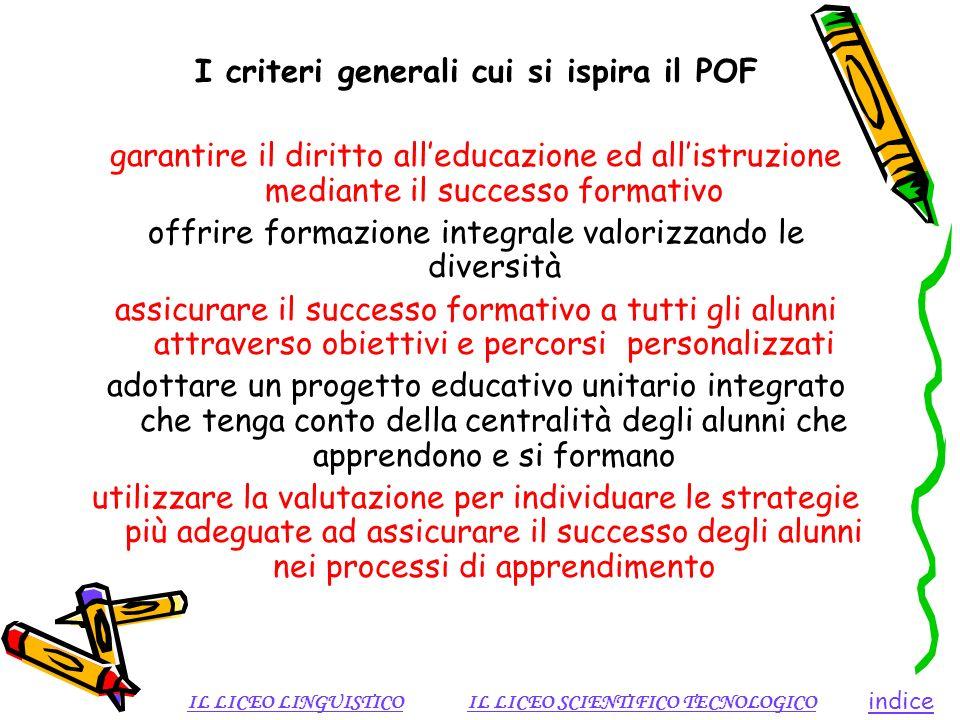 I criteri generali cui si ispira il POF garantire il diritto alleducazione ed allistruzione mediante il successo formativo offrire formazione integral
