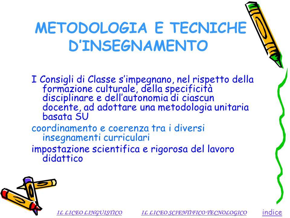 METODOLOGIA E TECNICHE DINSEGNAMENTO I Consigli di Classe simpegnano, nel rispetto della formazione culturale, della specificità disciplinare e dellau