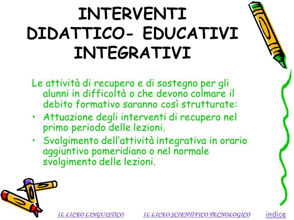 INTERVENTI DIDATTICO- EDUCATIVI INTEGRATIVI Le attività di recupero e di sostegno per gli alunni in difficoltà o che devono colmare il debito formativ