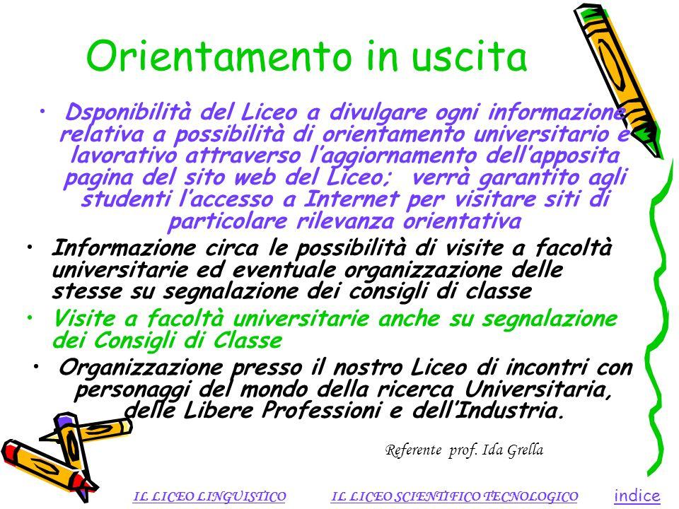 Orientamento in uscita Dsponibilità del Liceo a divulgare ogni informazione relativa a possibilità di orientamento universitario e lavorativo attraver