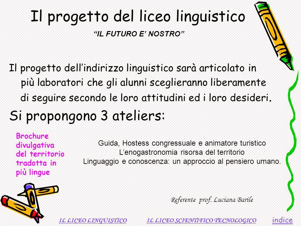 Il progetto del liceo linguistico Il progetto dellindirizzo linguistico sarà articolato in più laboratori che gli alunni sceglieranno liberamente di s