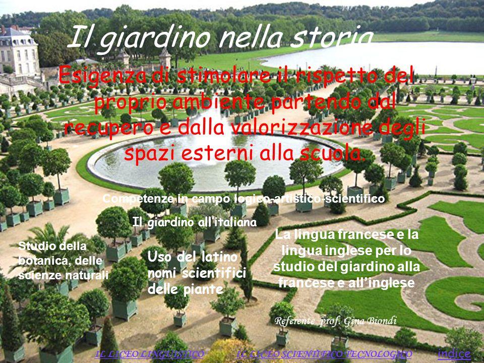 Il giardino nella storia Esigenza di stimolare il rispetto del proprio ambiente partendo dal recupero e dalla valorizzazione degli spazi esterni alla