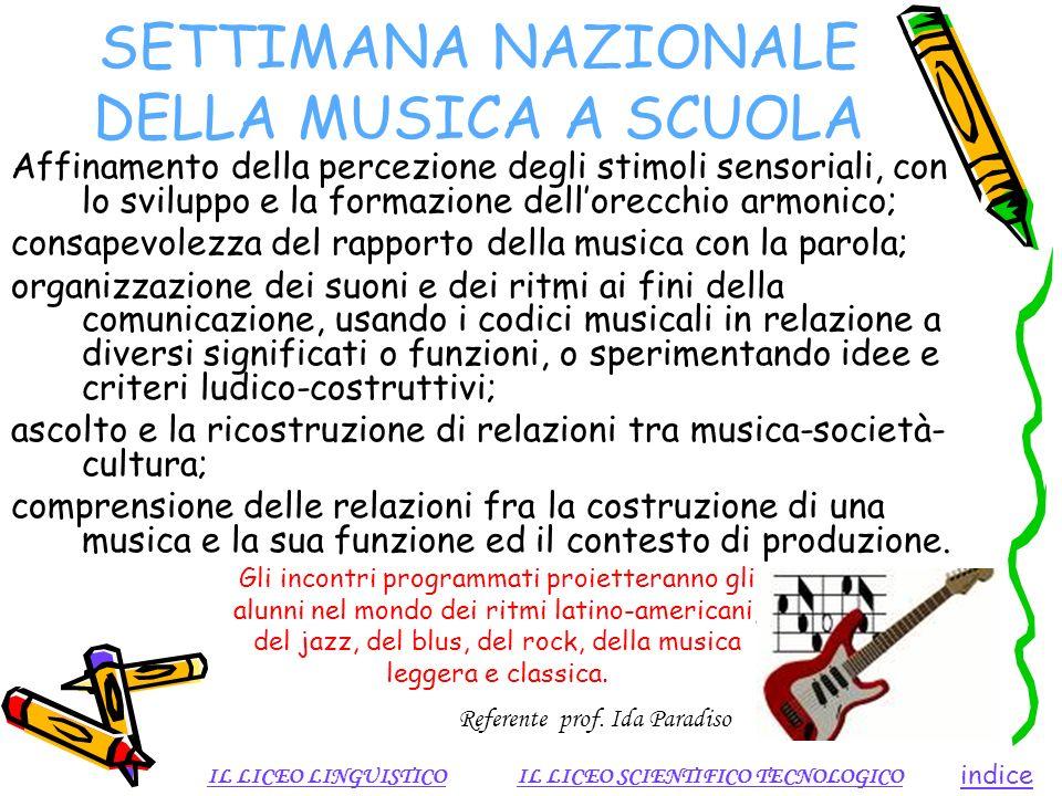 SETTIMANA NAZIONALE DELLA MUSICA A SCUOLA Affinamento della percezione degli stimoli sensoriali, con lo sviluppo e la formazione dellorecchio armonico