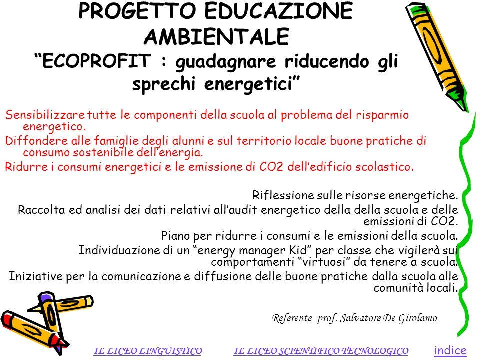 PROGETTO EDUCAZIONE AMBIENTALE ECOPROFIT : guadagnare riducendo gli sprechi energetici Sensibilizzare tutte le componenti della scuola al problema del