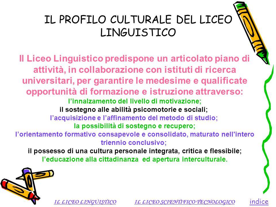 IL PROFILO CULTURALE DEL LICEO LINGUISTICO indice IL LICEO LINGUISTICOIL LICEO SCIENTIFICO TECNOLOGICO Il Liceo Linguistico predispone un articolato p