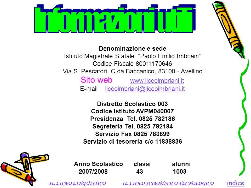Denominazione e sede Istituto Magistrale Statale Paolo Emilio Imbriani Codice Fiscale 80011170646 Via S. Pescatori, C.da Baccanico, 83100 - Avellino S