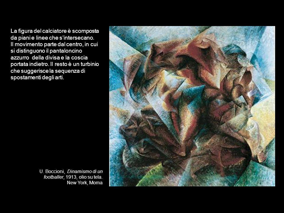 U. Boccioni, Dinamismo di un footballer, 1913, olio su tela. New York, Moma La figura del calciatore è scomposta da piani e linee che sintersecano. Il